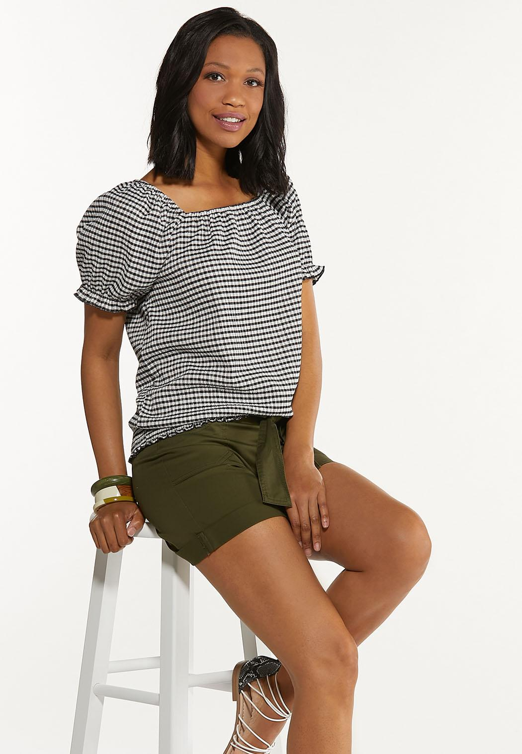 Plus Size Gingham Puff Sleeve Top (Item #44606962)