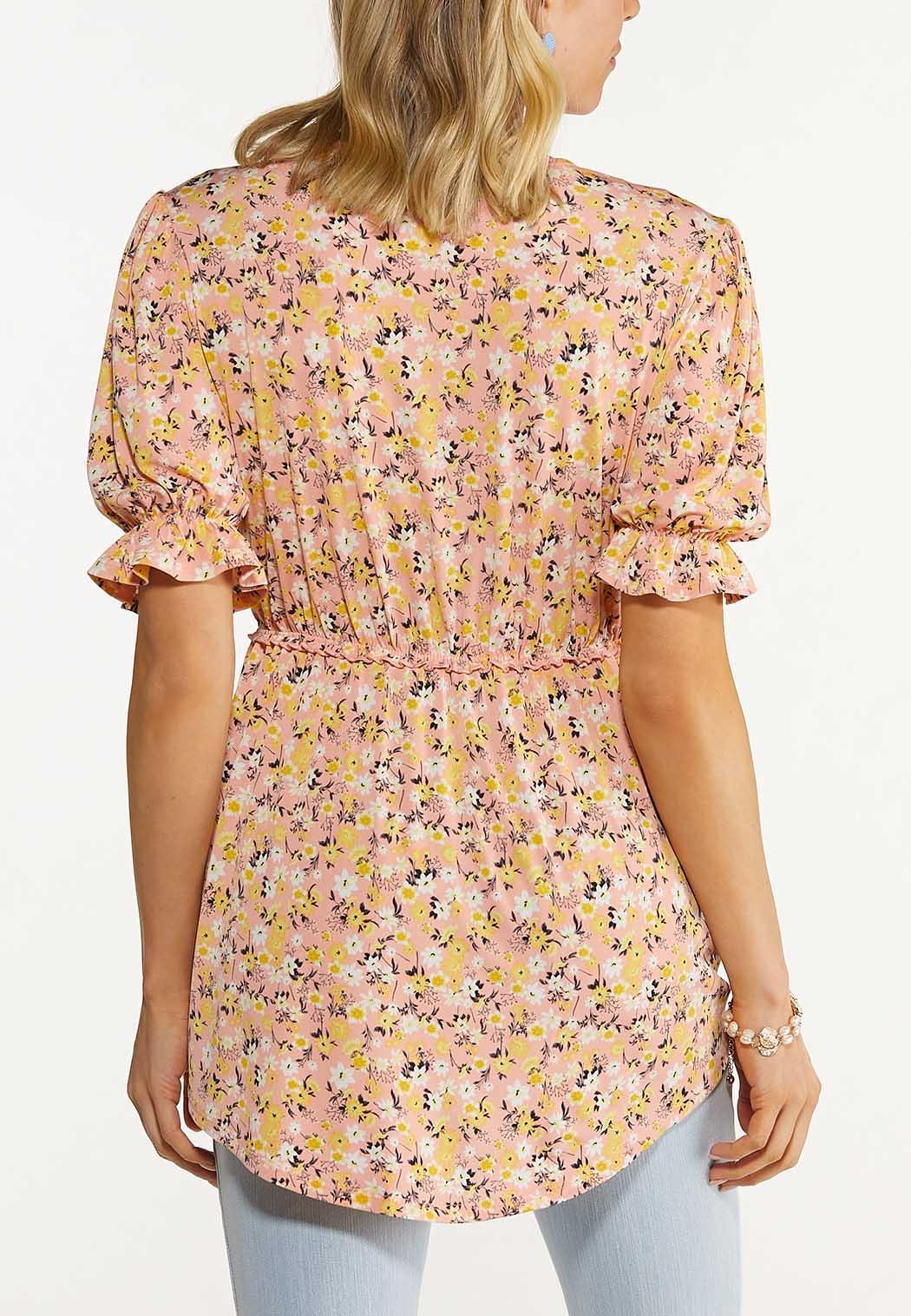Plus Size Peach Floral Babydoll Tunic (Item #44606985)