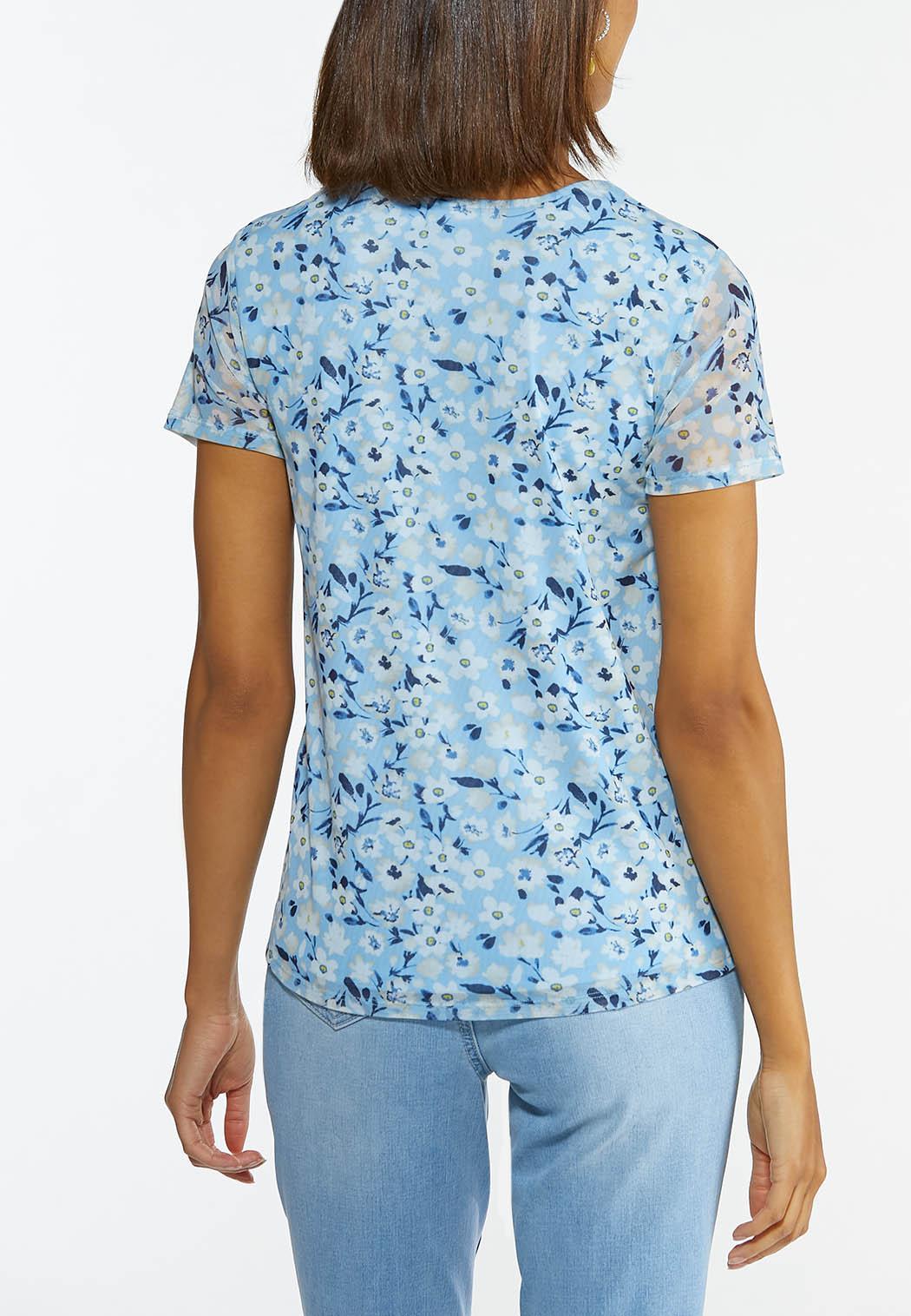 Plus Size Floral Twisted Cutout Top (Item #44607004)