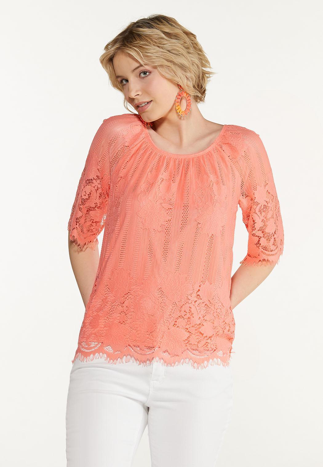 Plus Size Peachy Lace Top (Item #44607425)