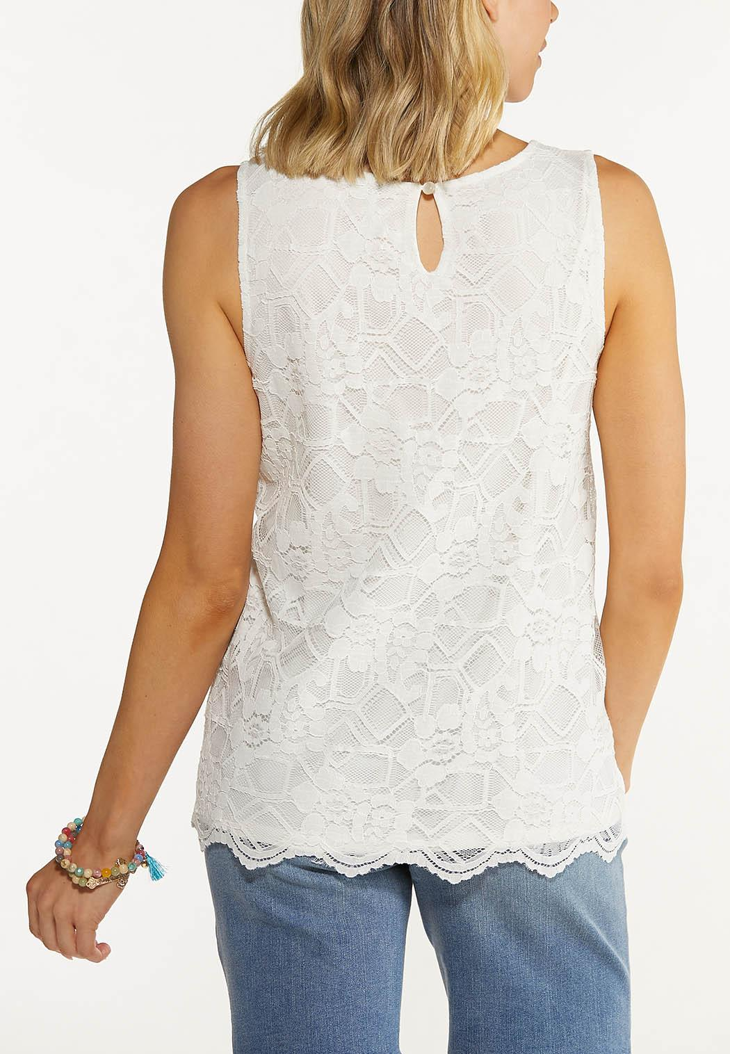 Plus Size Ivory Lace Top (Item #44607561)
