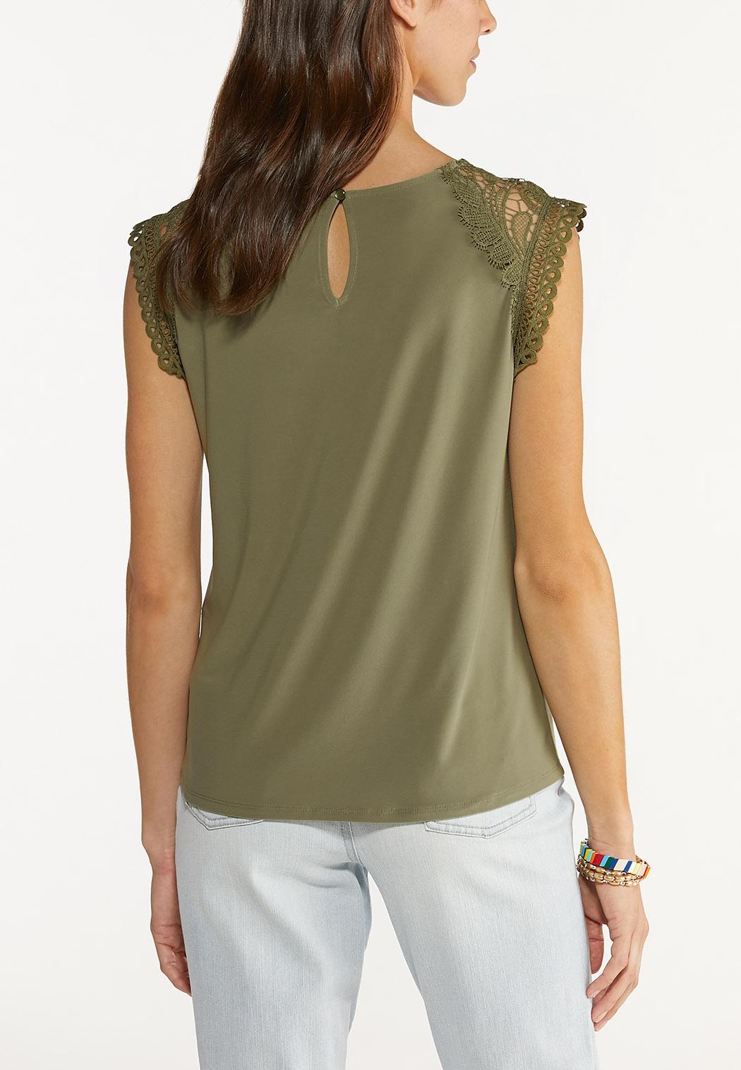 Plus Size Olive Lace Shoulder Top (Item #44607589)