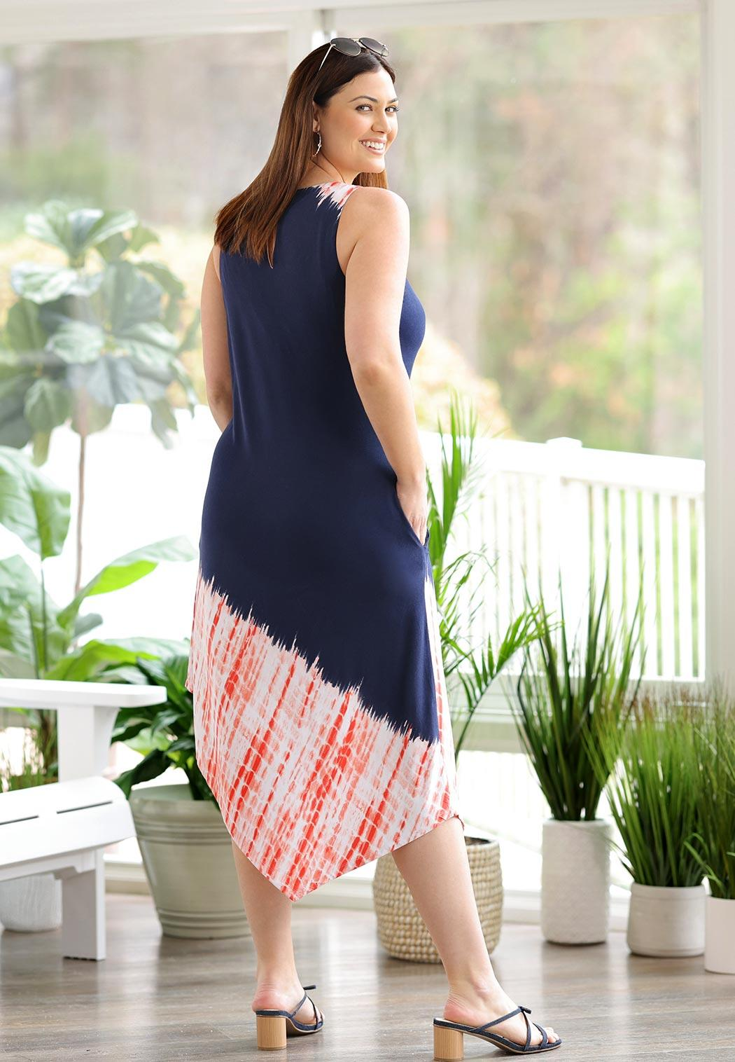 Plus Size Americana Tie Dye Midi Dress (Item #44607591)