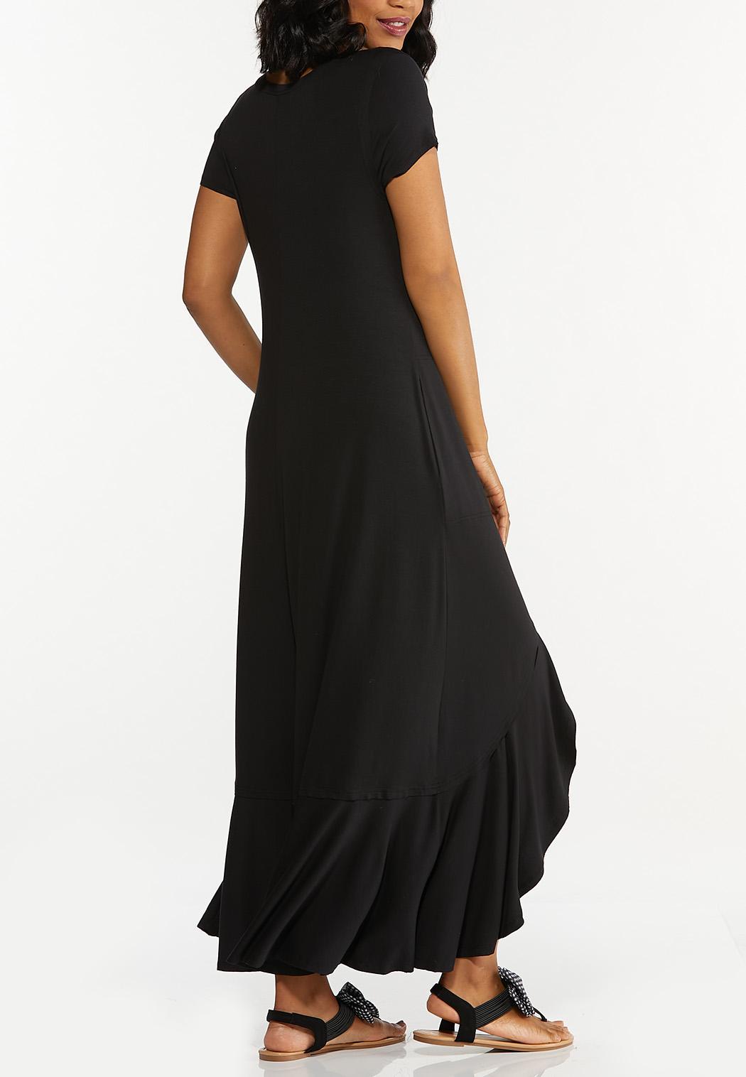 Black Ruffled Maxi Dress (Item #44607653)