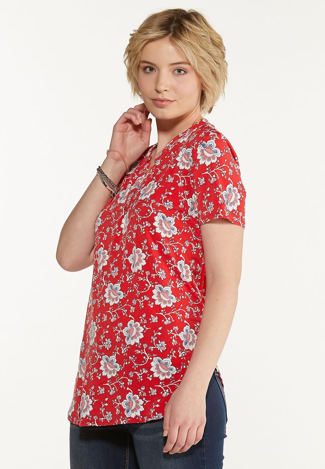 Plus Size Floral Puff Top (Item #44607703)
