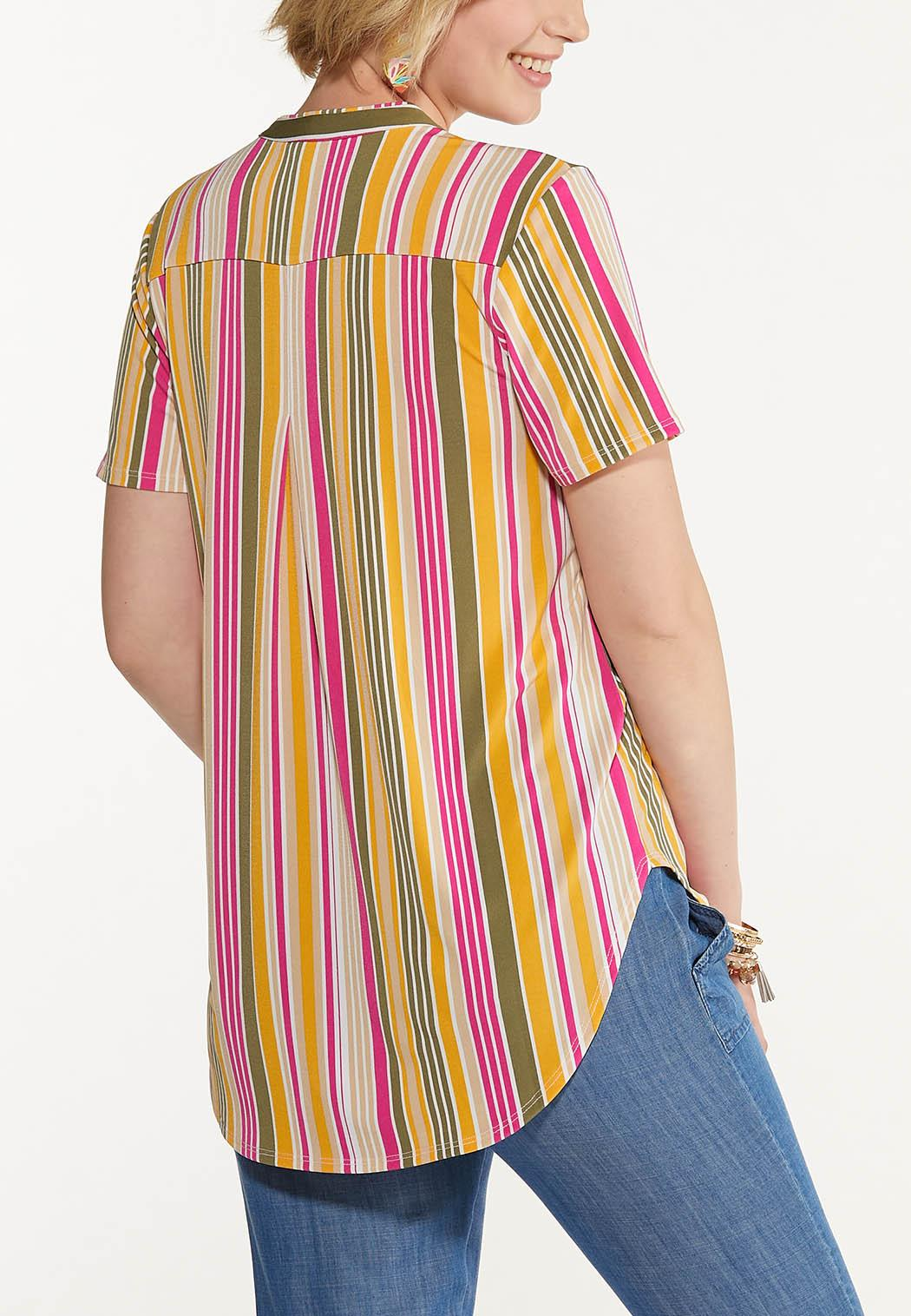 Plus Size Melon Stripe Top (Item #44607713)
