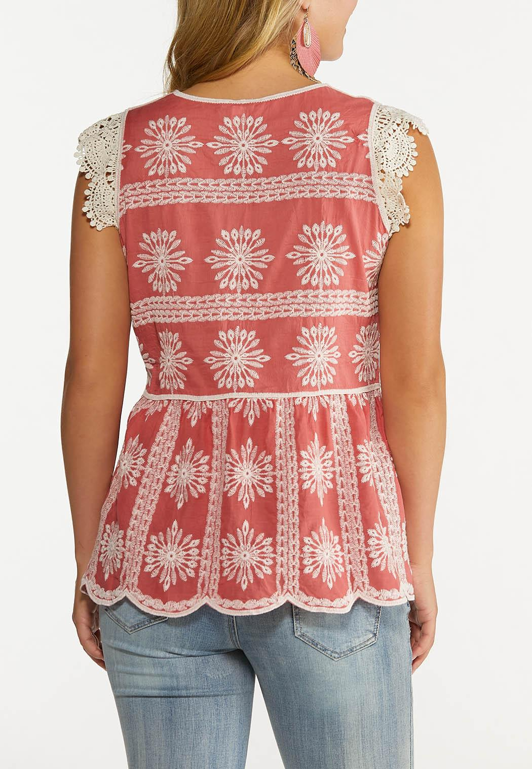 Plus Size Embroidered Peplum Top (Item #44607858)