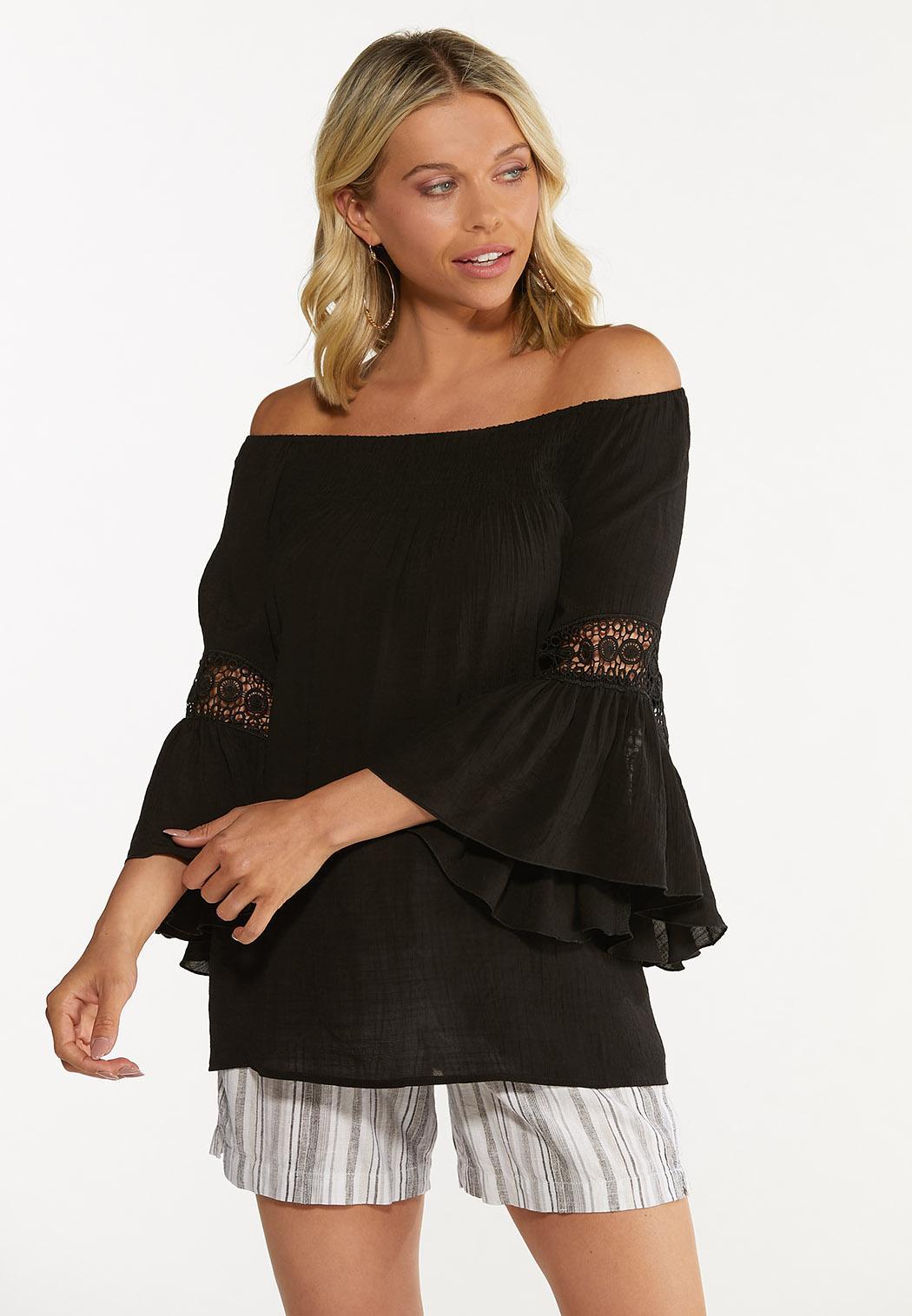 Smocked Crochet Sleeve Poet Top (Item #44607995)