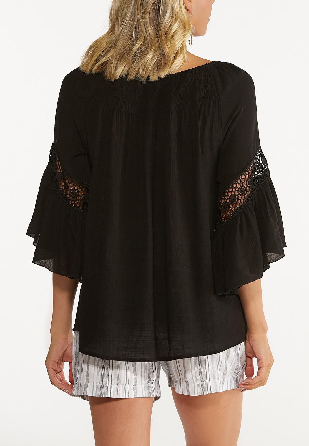 Plus Size Smocked Crochet Sleeve Poet Top (Item #44608111)