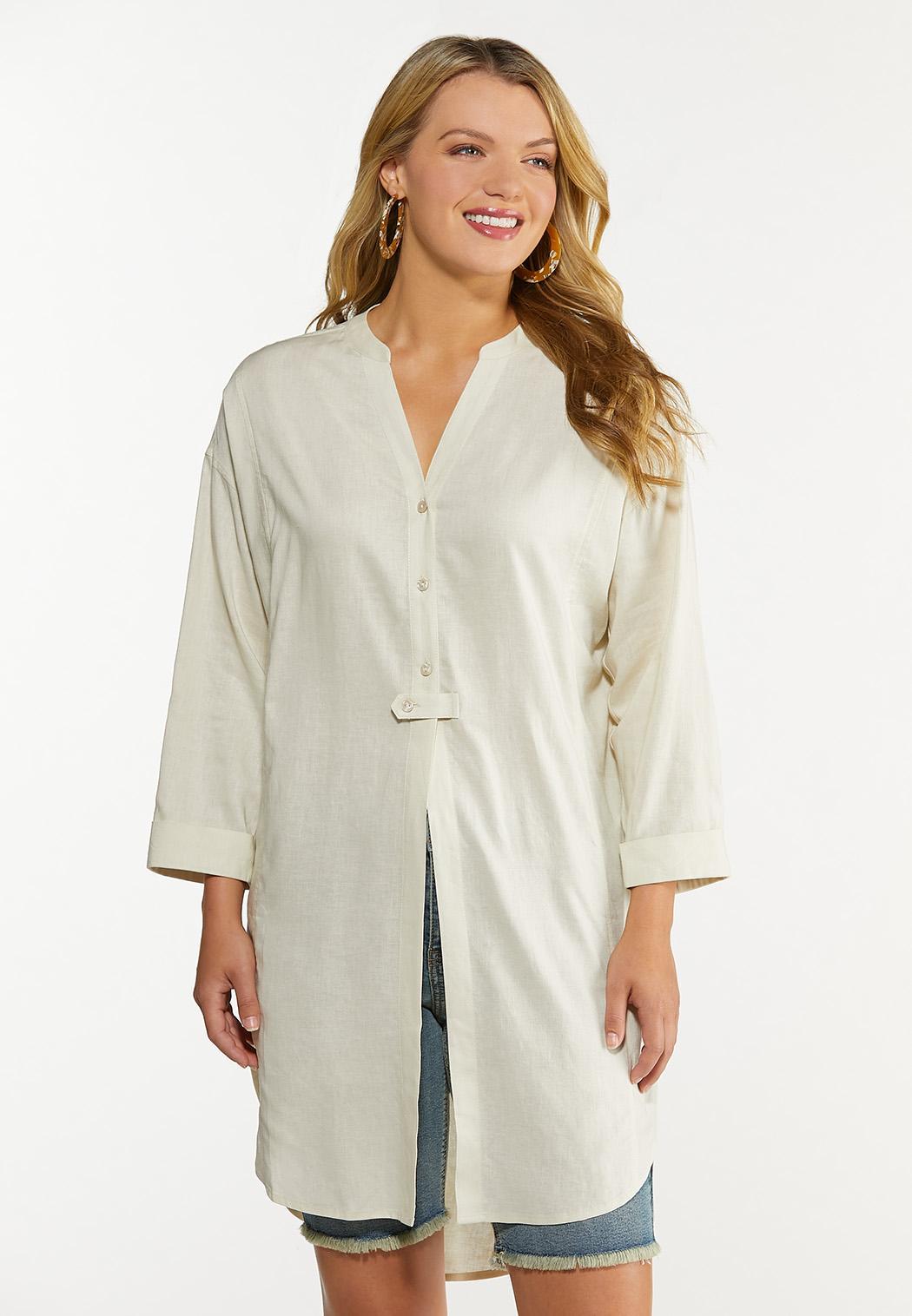 Plus Size Natural Linen Tunic (Item #44608260)
