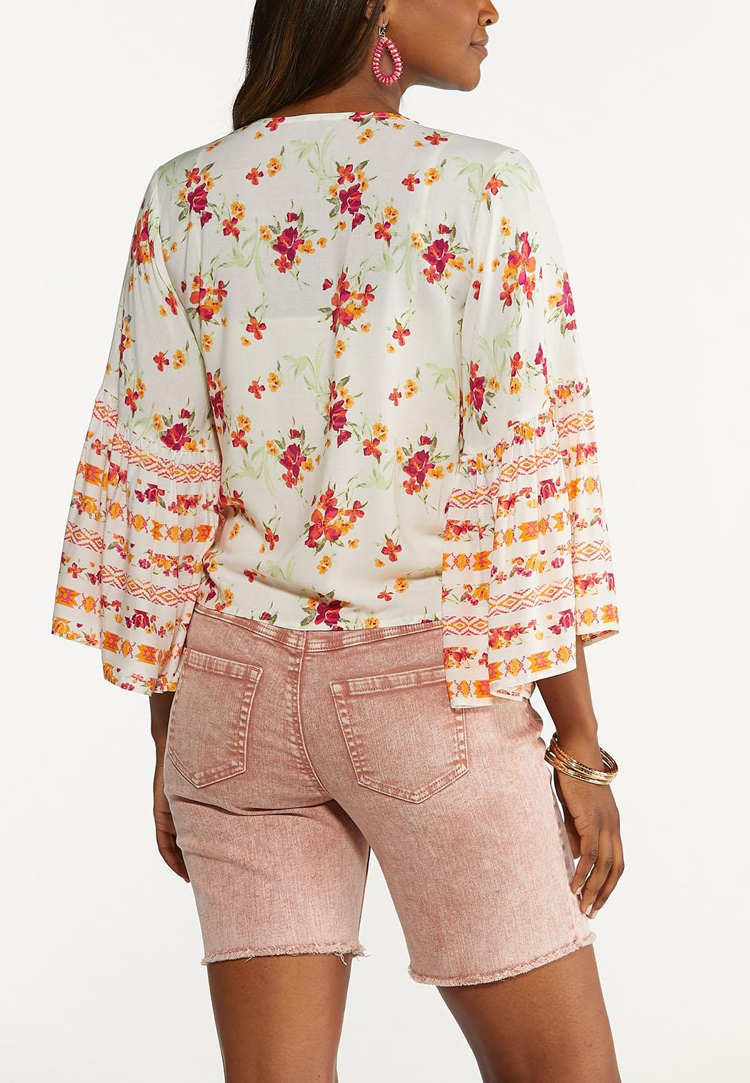 Plus Size Floral Tie Front Cardigan Top (Item #44608300)
