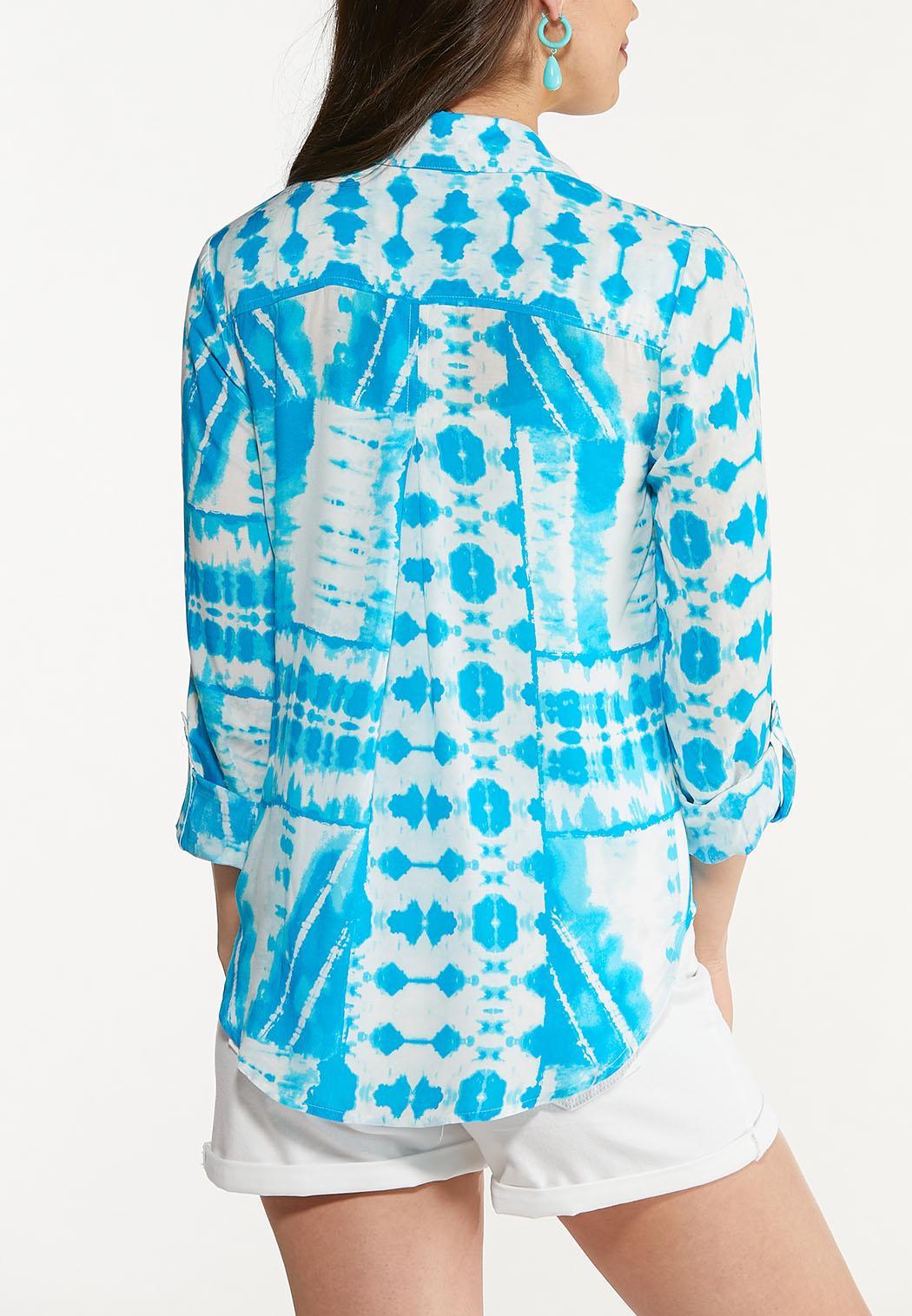 Plus Size Turquoise Tie Dye Top (Item #44608319)