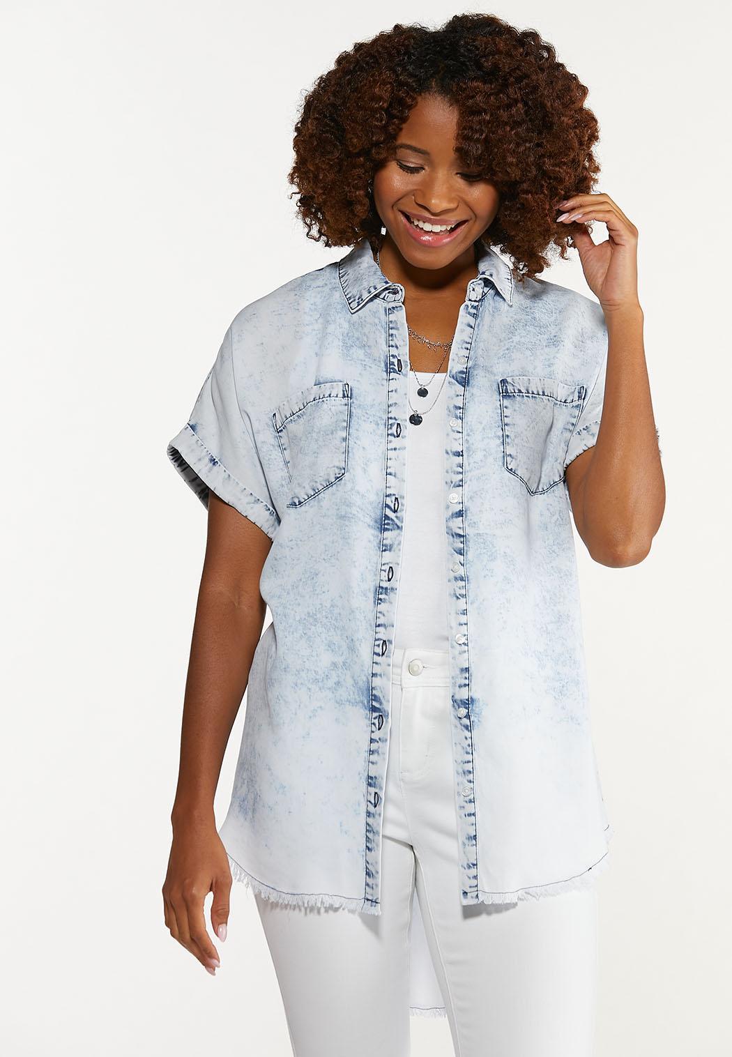 Plus Size Acid Wash Button Collar Shirt (Item #44608723)