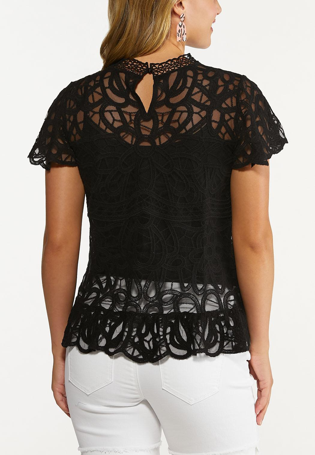 Plus Size Solid Mesh Embroidered Top (Item #44608756)