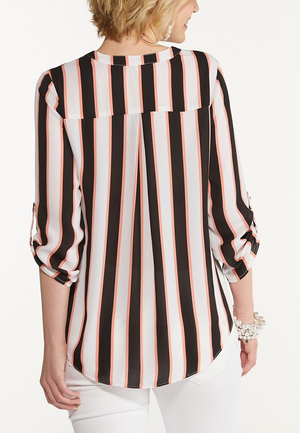 Plus Size Striped Zip Front Top (Item #44608835)