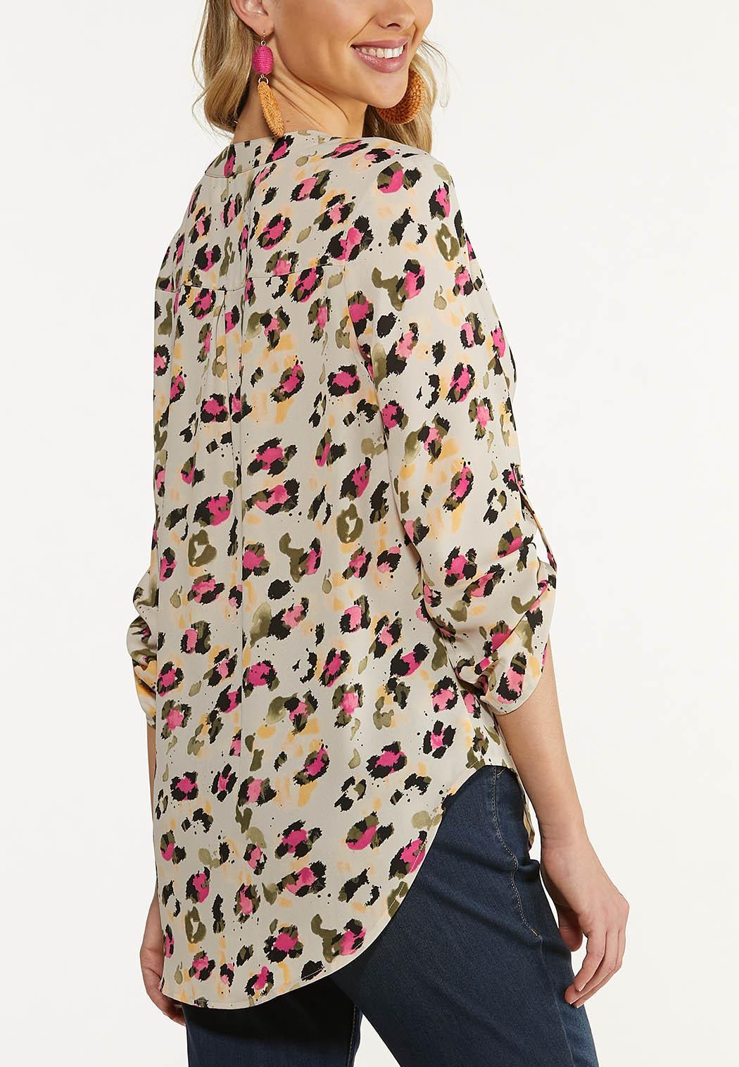 Plus Size Leopard Popover Top (Item #44608876)