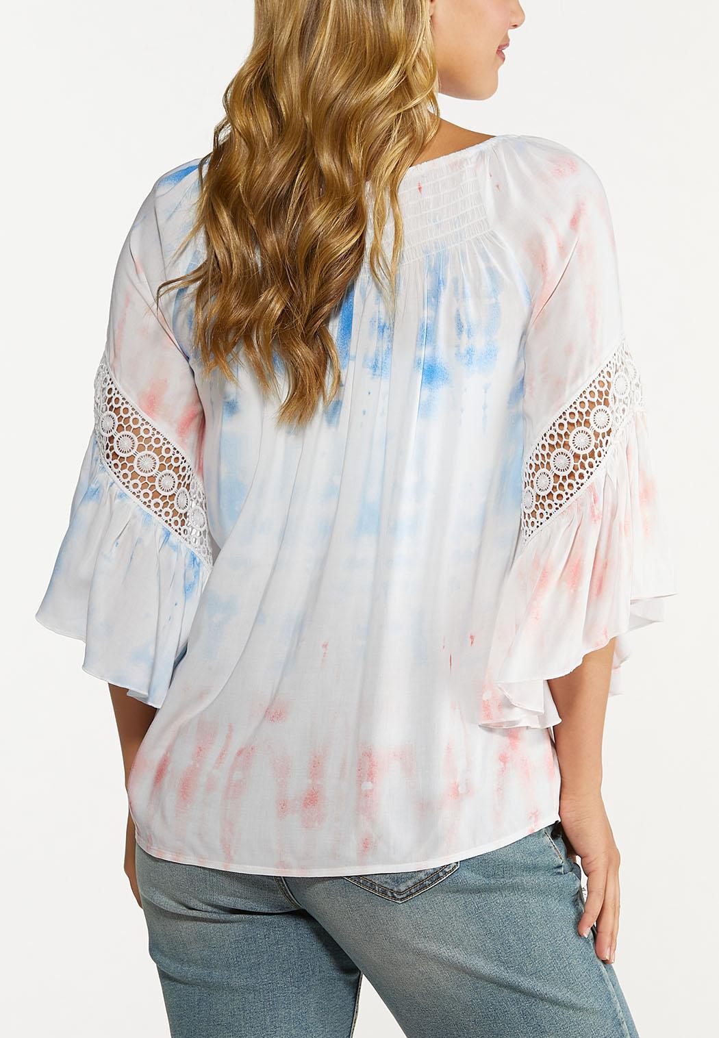 Plus Size Tie Dye Lace Trim Poet Top (Item #44608895)