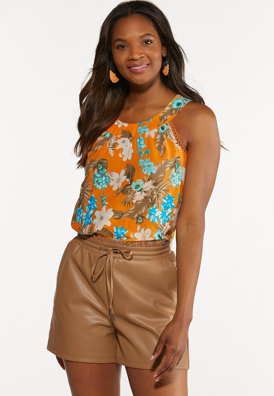 Plus Size Apricot Floral Top (Item #44608938)