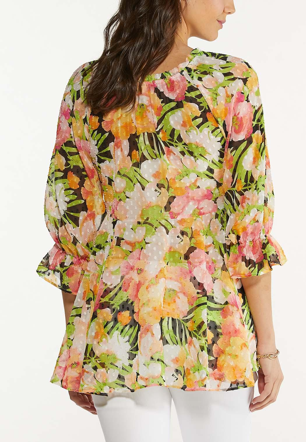 Plus Size Tropical Floral Peplum Top (Item #44608955)