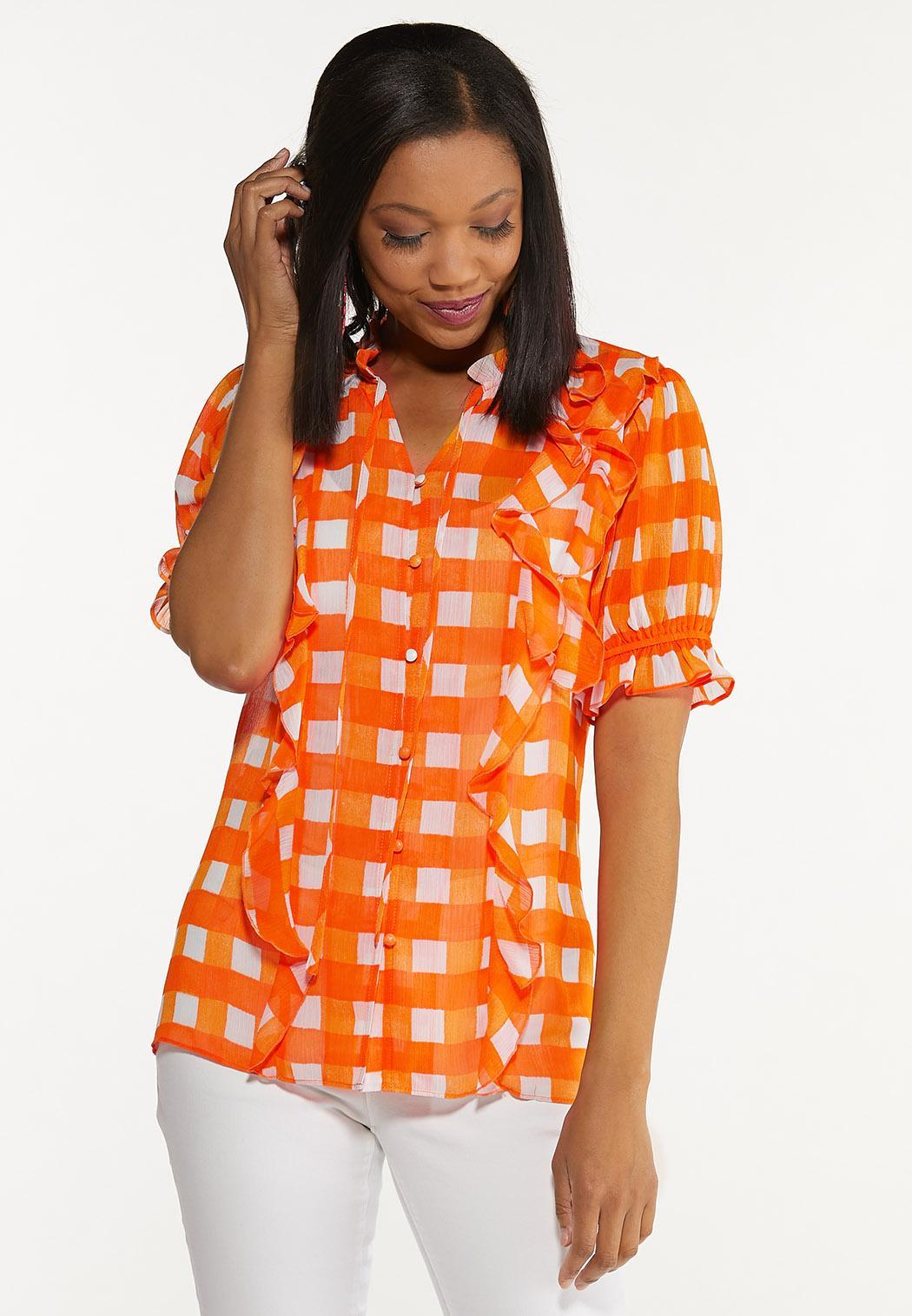 Plus Size Orange Checkered Top (Item #44609280)