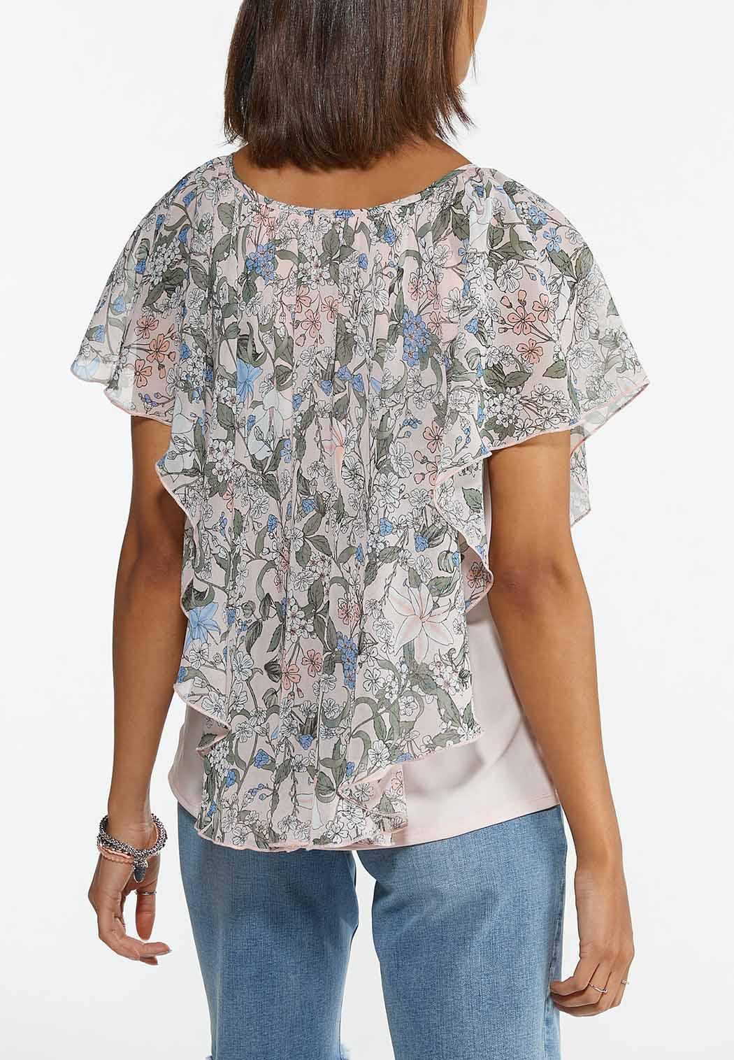 Plus Size Pink Floral Caplet (Item #44609402)