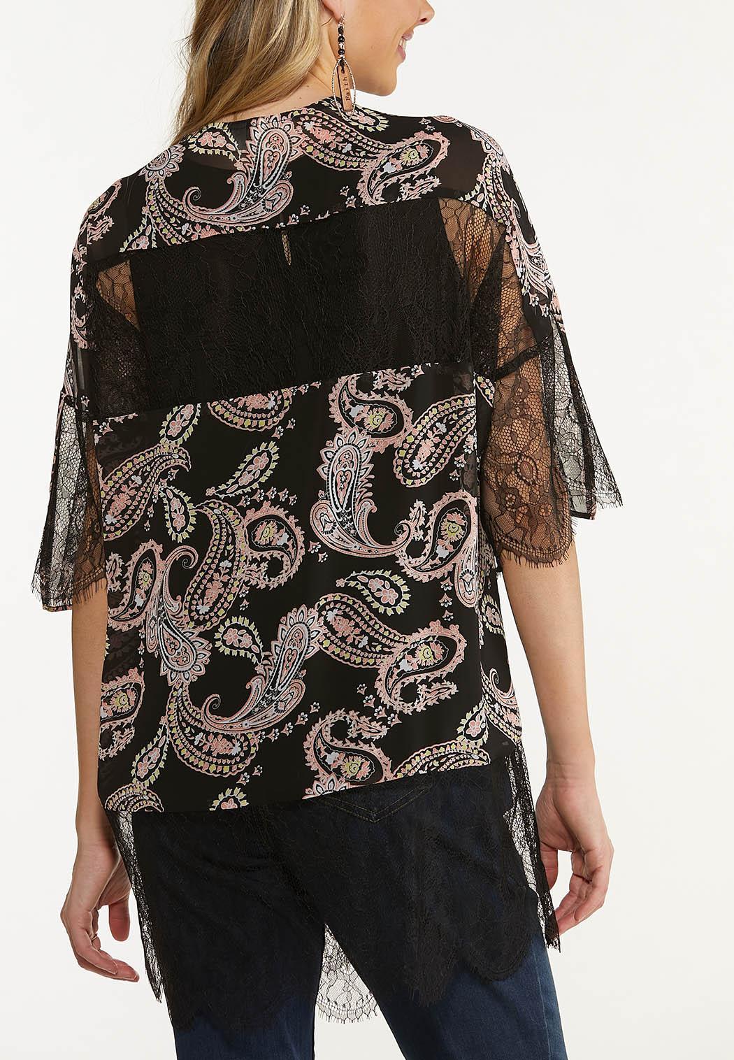 Plus Size Lacy Paisley Kimono (Item #44609442)