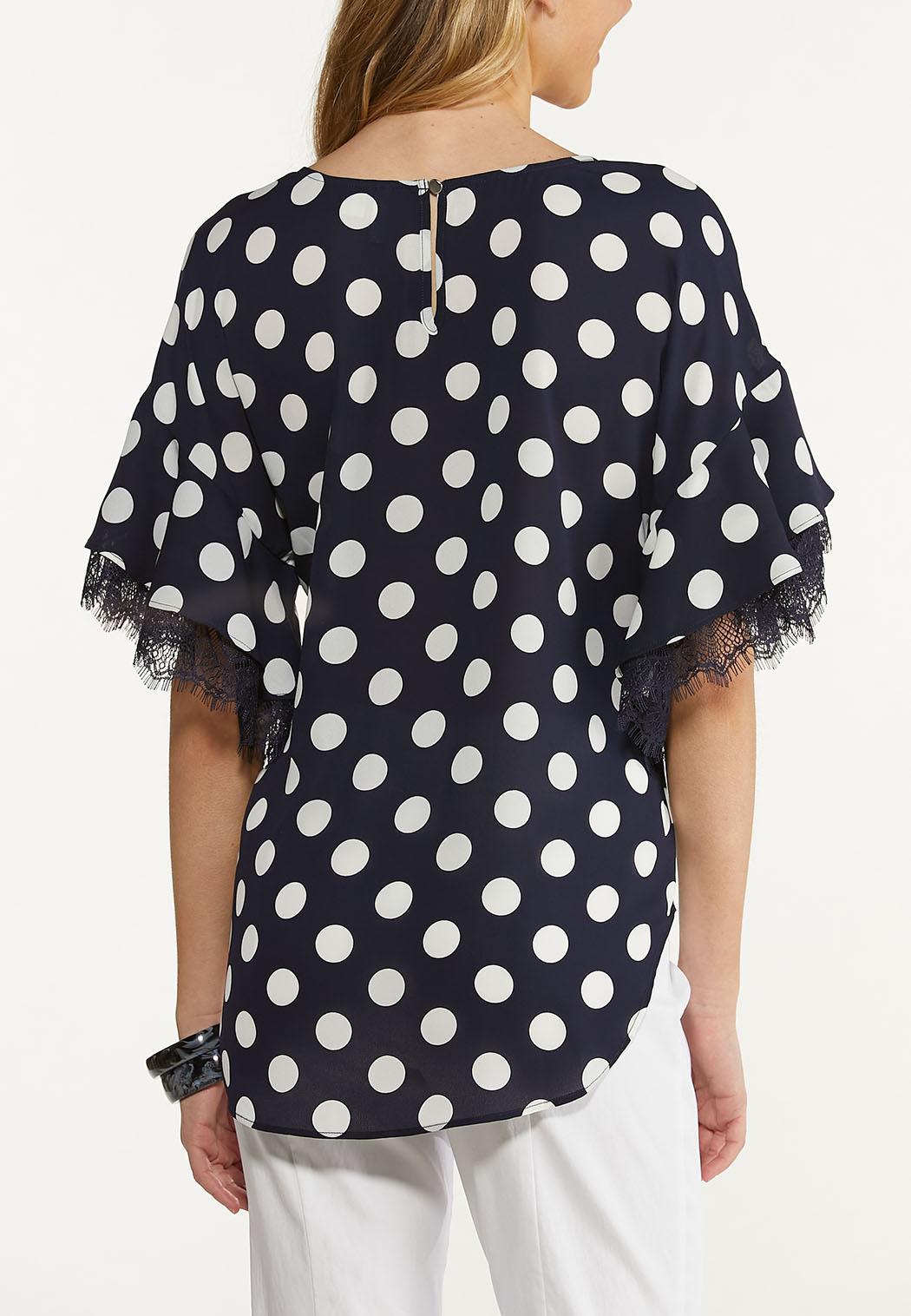 Polka Dot Lace Trim Top (Item #44609452)