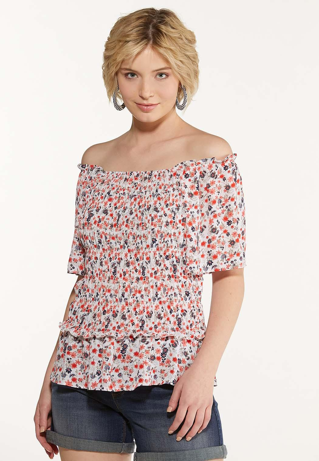 Plus Size Smocked Floral Top (Item #44609497)
