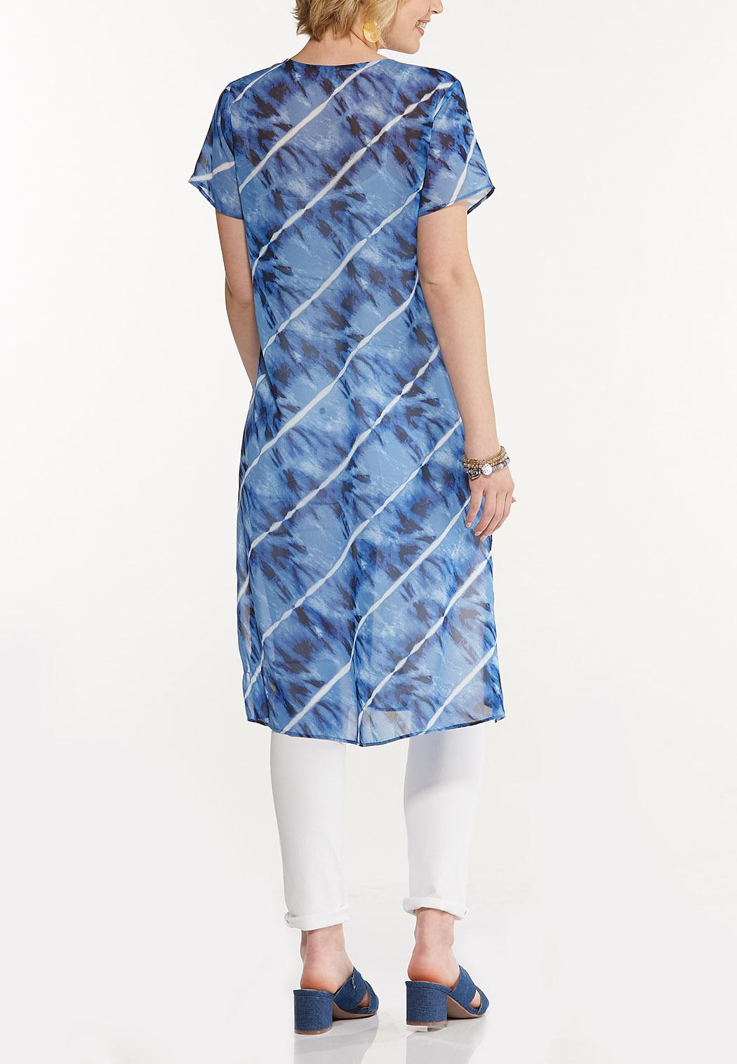 Plus Size Sheer Tie Dye Tunic (Item #44609521)