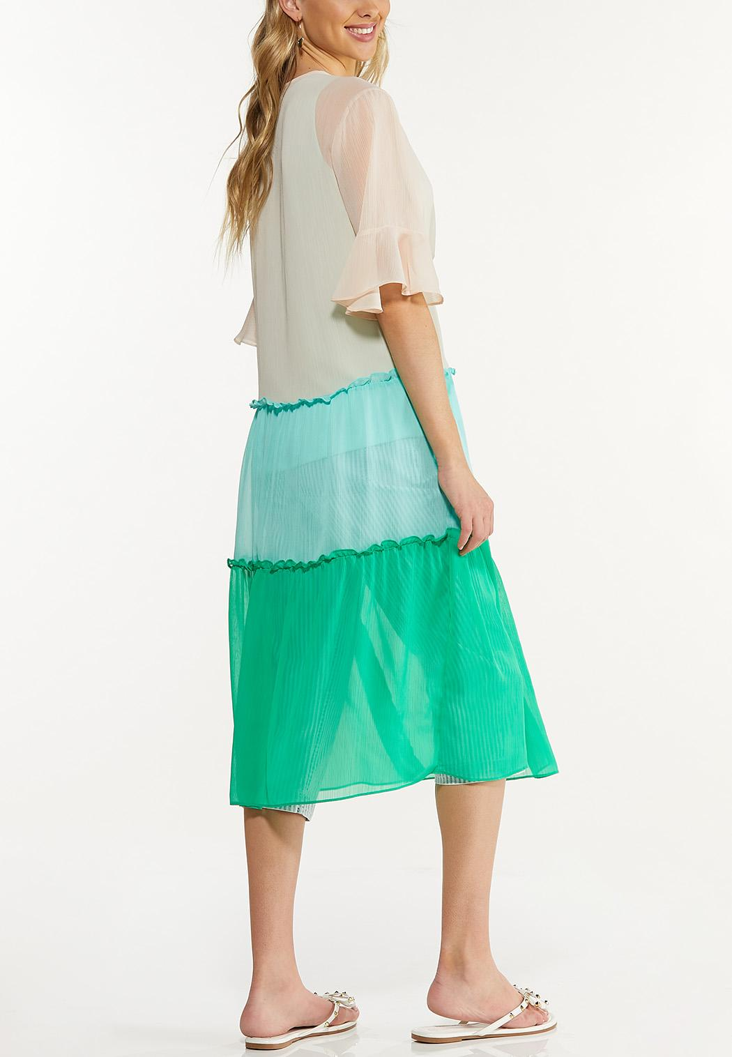 Plus Size Tiered Colorblock Kimono (Item #44609796)