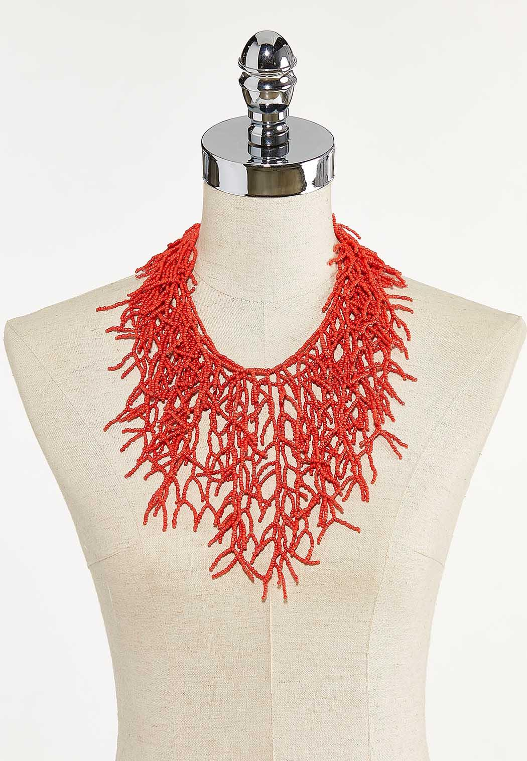 Coral Seed Bead Statement Necklace (Item #44609865)