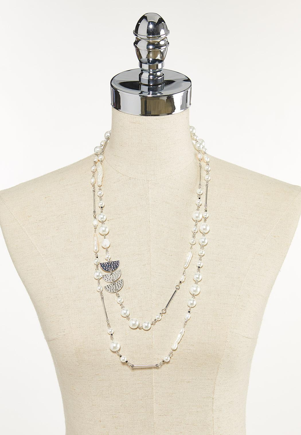 Layered Mixed Pearl Necklace (Item #44609957)