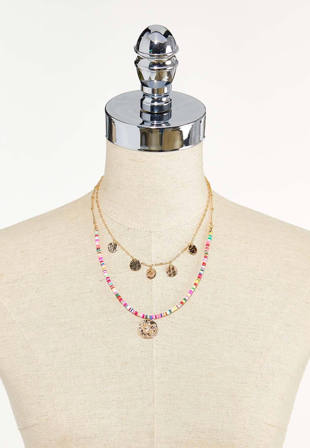 Layered Rainbow Bead Disc Necklace (Item #44610111)