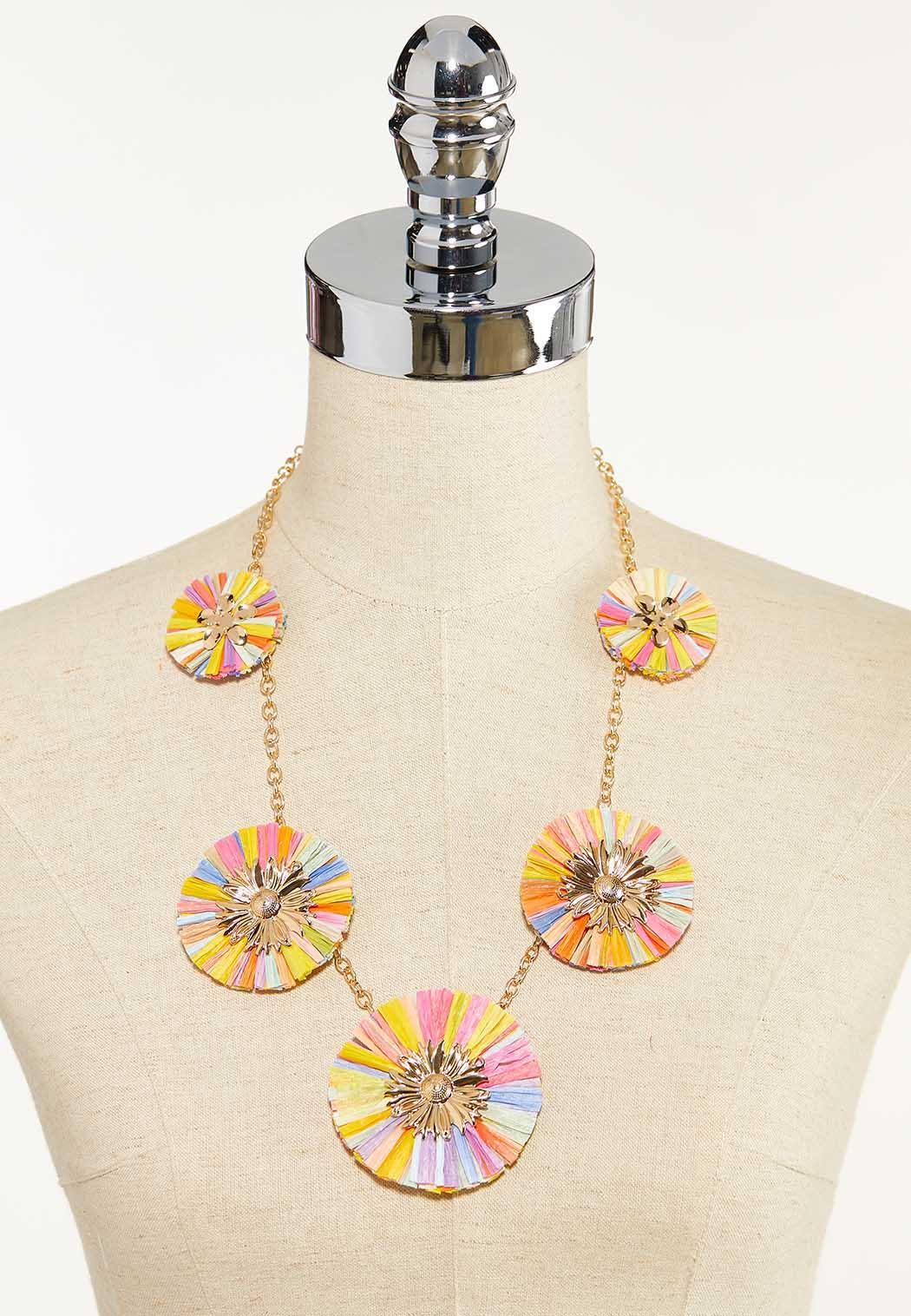 Rainbow Raffia Fan Necklace (Item #44610172)