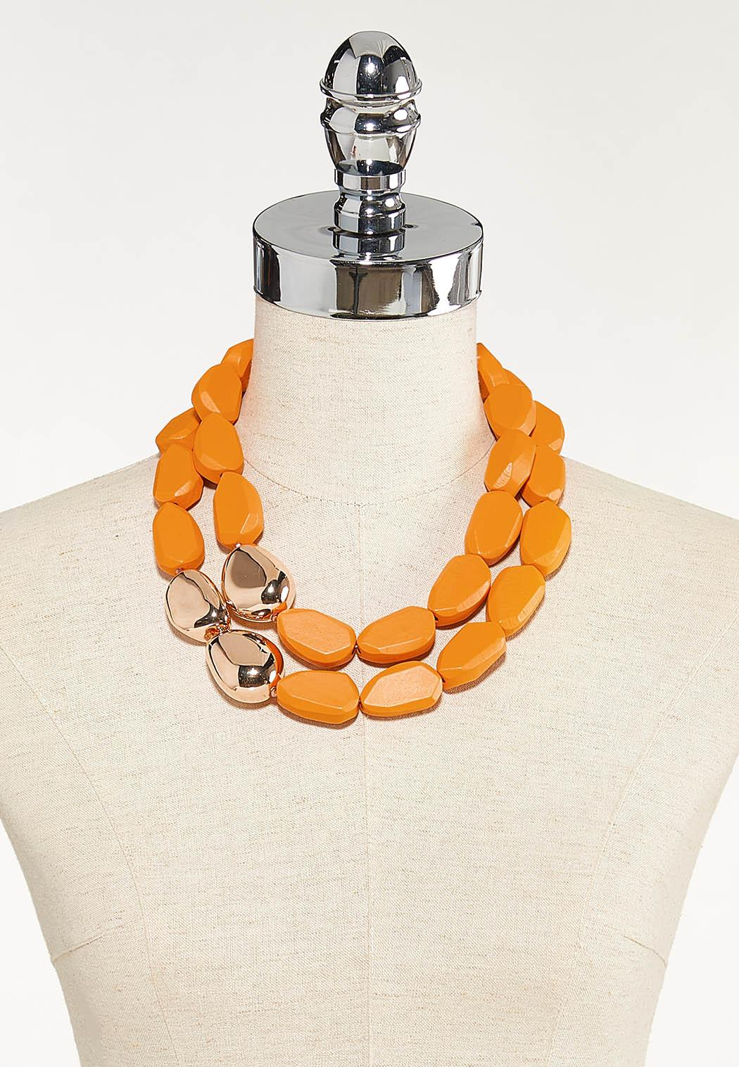 Layered Chunky Wood Necklace (Item #44610176)