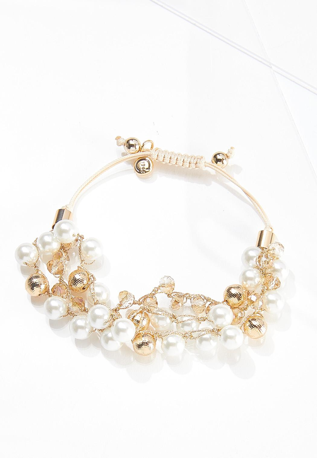 Pearly Bead Pull-String Bracelet (Item #44610276)
