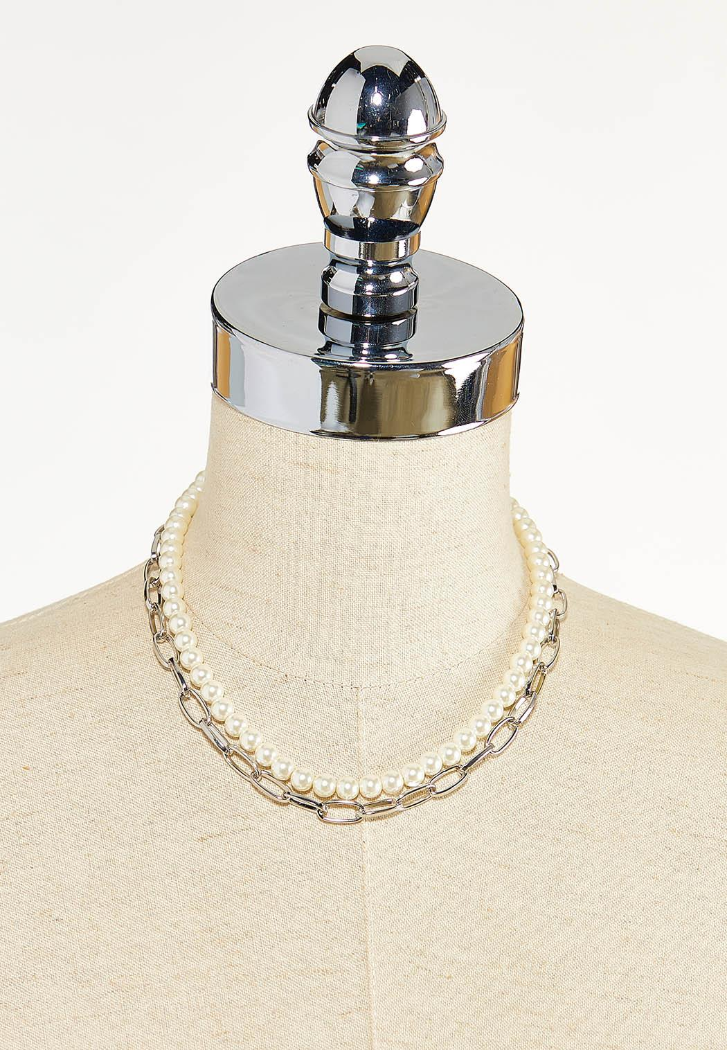 Layered Pearl Chain Necklace (Item #44610282)