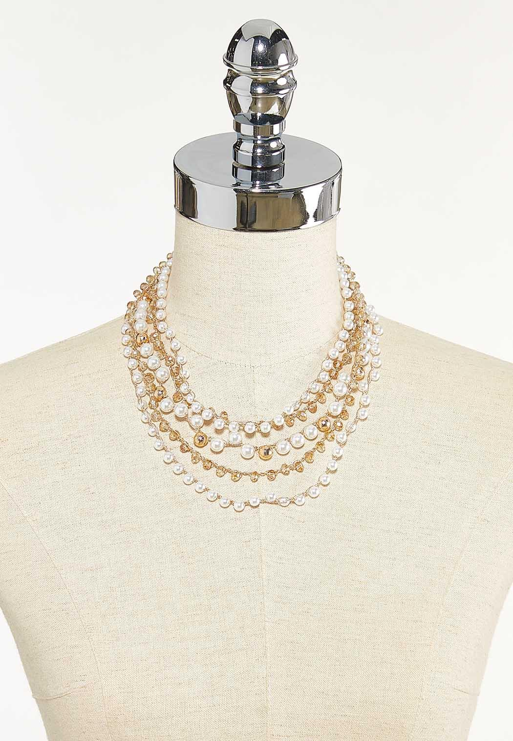 Layered Pearl Bead Necklace (Item #44610286)
