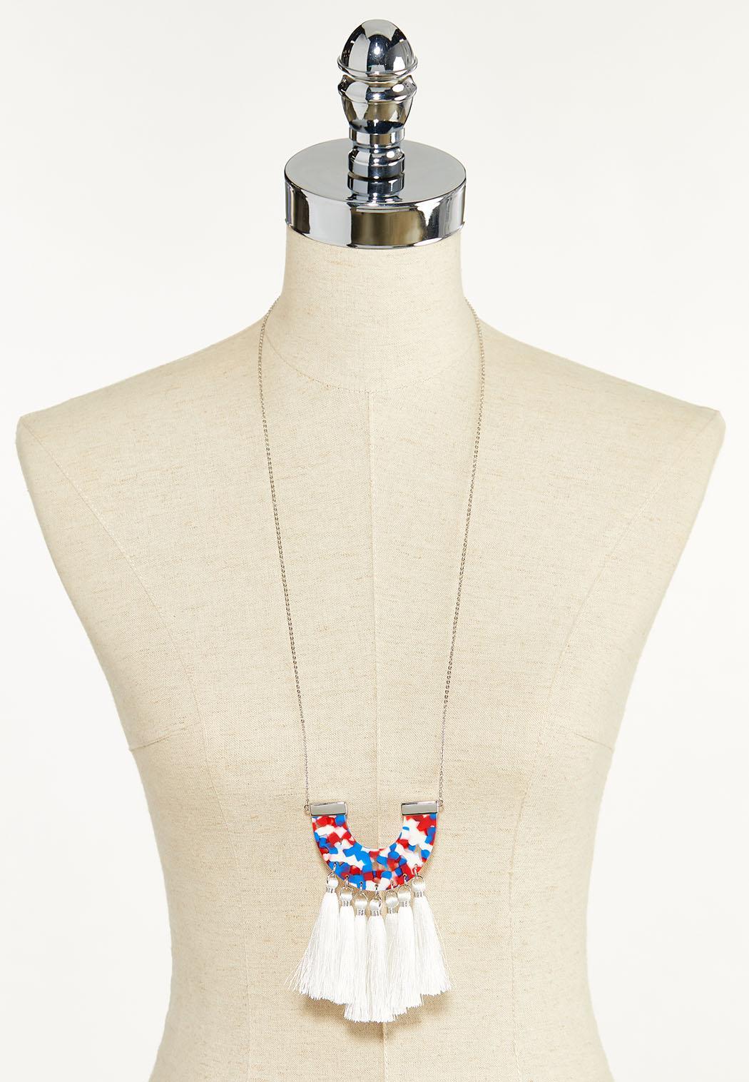 Lucite Tassel Pendant Necklace (Item #44610300)
