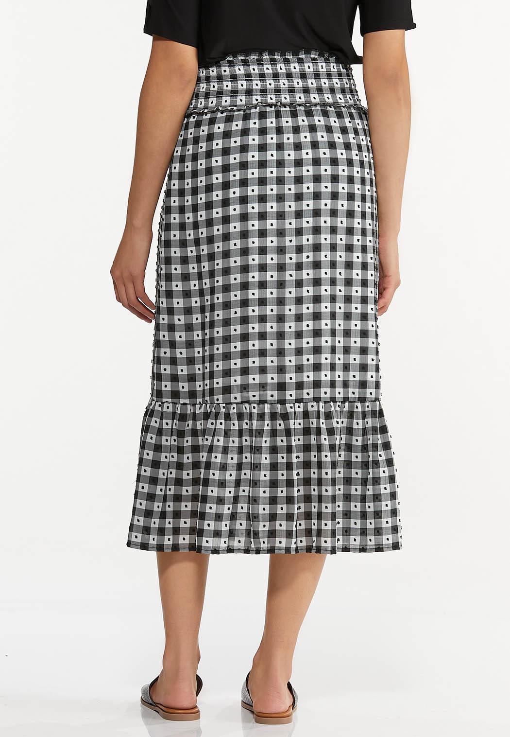 Plus Size Smocked Gingham Midi Skirt (Item #44610337)