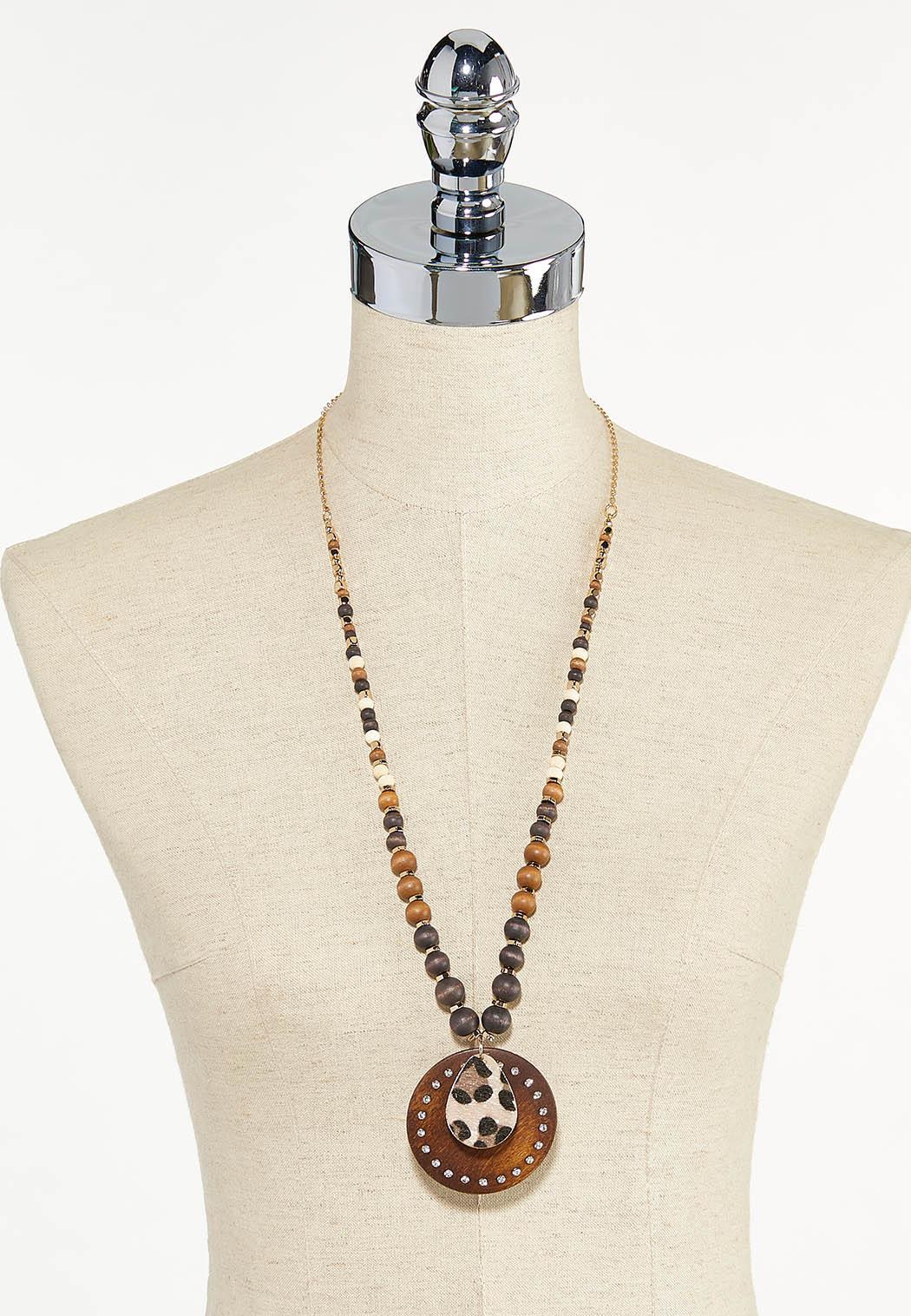 Leopard Disc Pendant Necklace (Item #44610435)