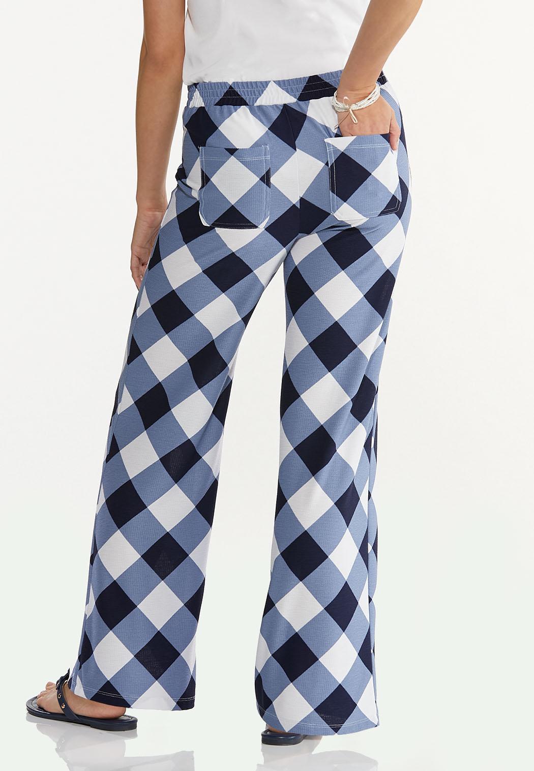 Petite Navy Gingham Pants (Item #44610626)