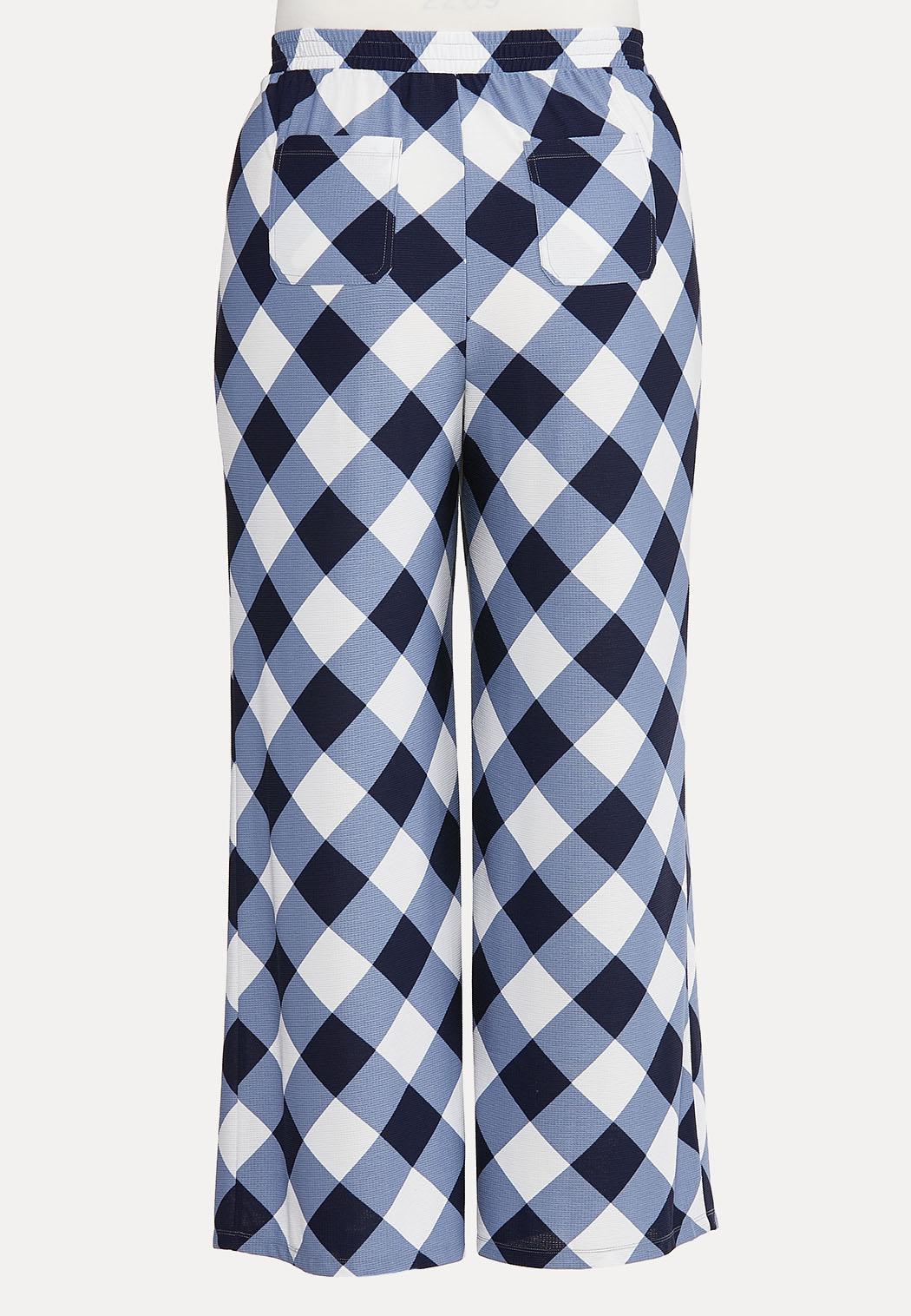 Plus Petite Navy Gingham Pants (Item #44610683)