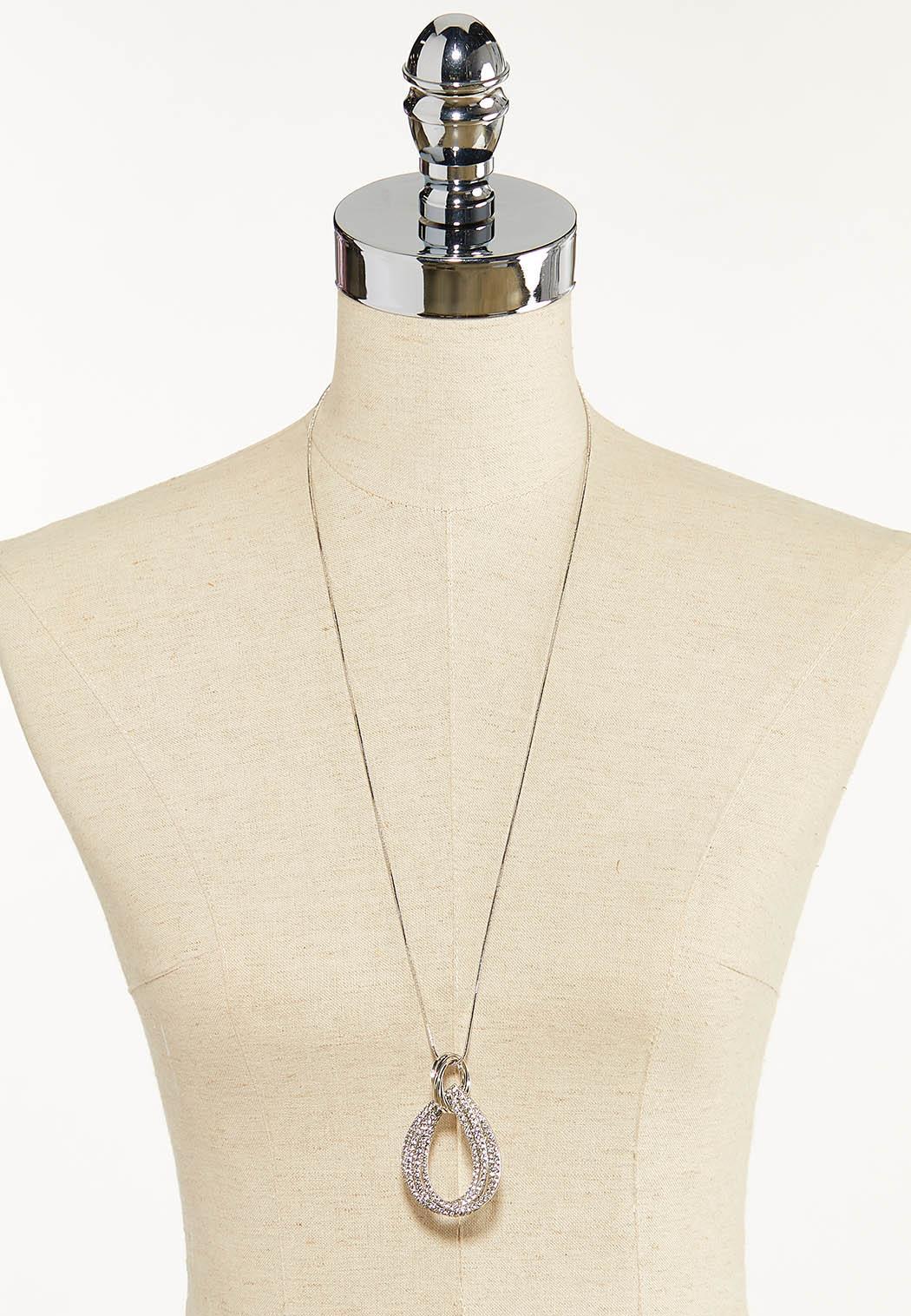 Rhinestone Tear Pendant Necklace (Item #44611805)