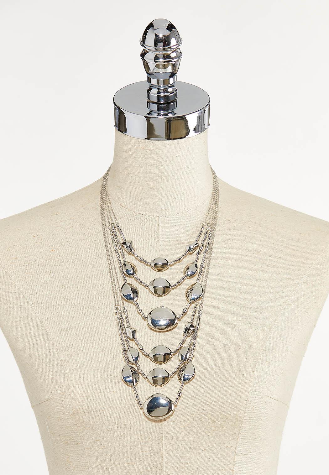 Layered Metal Bead Necklace (Item #44611809)