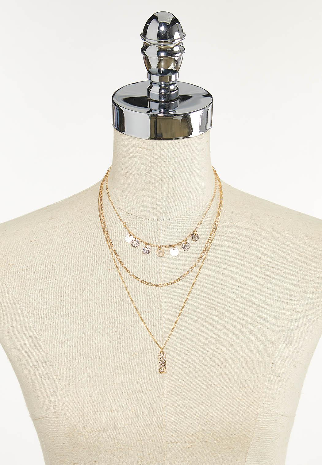 Layered Gold Pendant Necklace (Item #44611826)