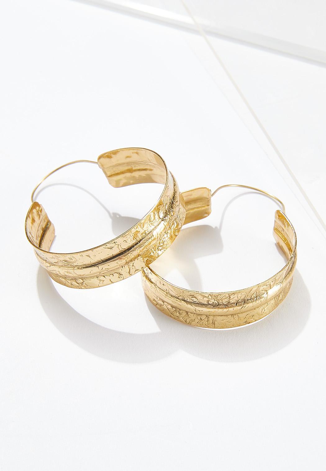 Gold Textured Hoop Earrings (Item #44611872)