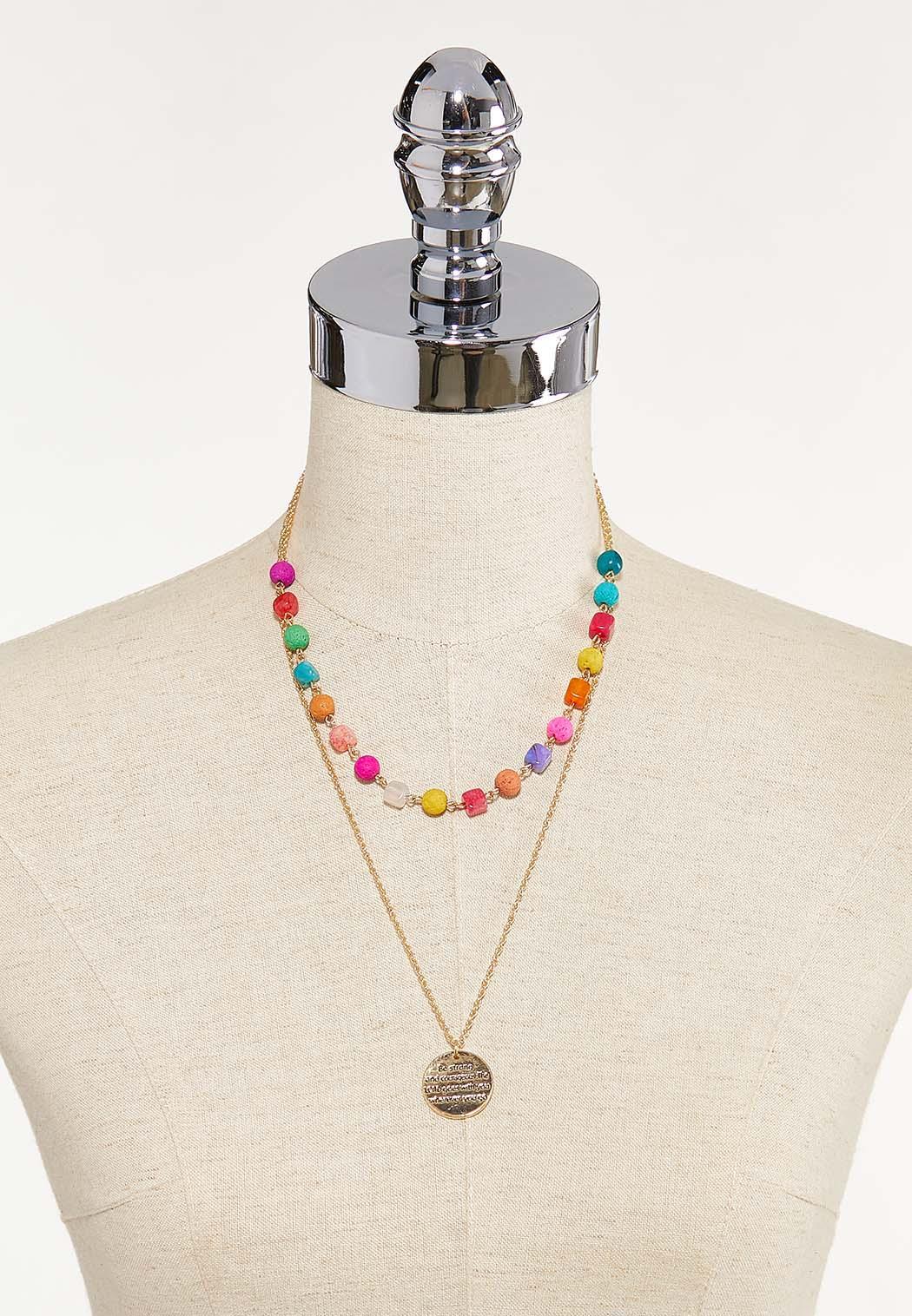 Layered Inspirational Bead Disc Necklace (Item #44612361)