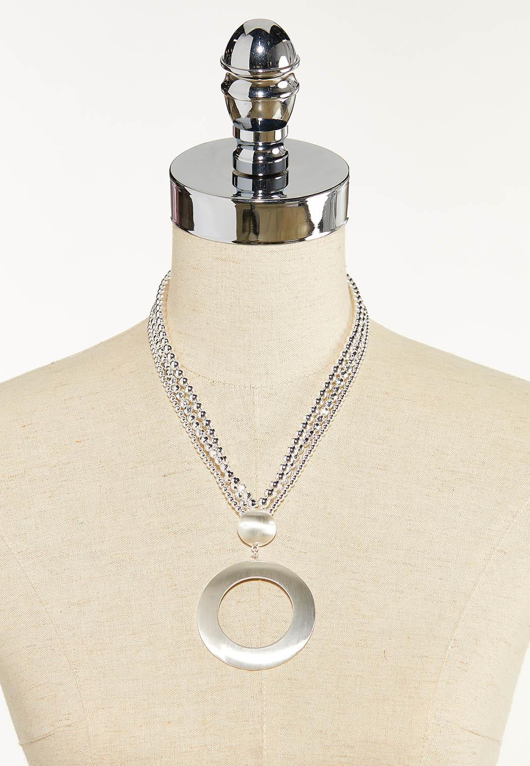 Brushed Metal Pendant Necklace (Item #44612670)