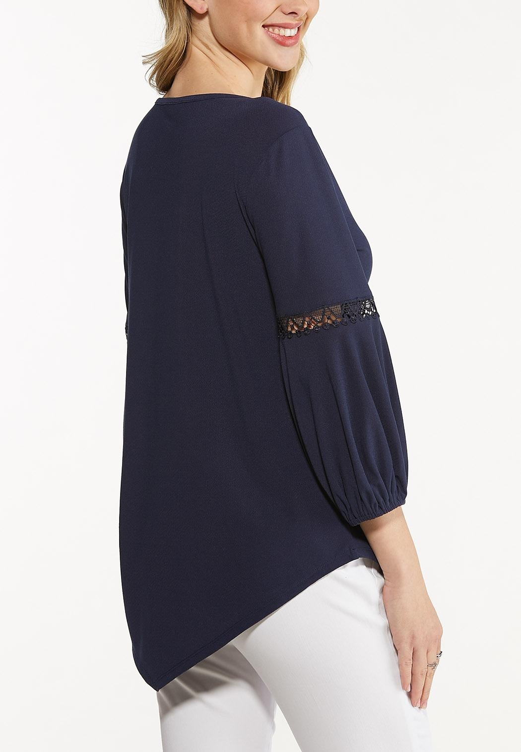 Plus Size Pointed Lace Trim Top (Item #44612775)